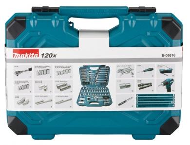 Makita Työkalu- ja tarvikesarja 120os. E-06616 sisältölistaus