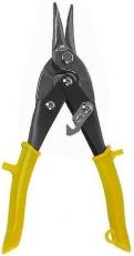 Suoraan ja oikealle leikkaavat sakset ohuen teräslevyn leikkaamiseen. Hammastetut leuat estävät lipsumista kovan materiaalin leikkauksessa. PVC-pinnoitus kahvoissa