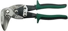 Suoraan tai oik. leikkaavat sakset ohuen teräslevyn leikkaamiseen. Teräs 1,2mm Ruostumaton teräs 0,7mm Hammastettu leuat 90-asteen kulmassa